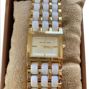 NEW Square Dial Wide Band White Gold MK 4196